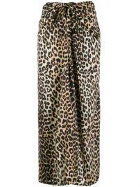 GANNI Leopard Print Tie Midi Skirt  - Farfetch at Farfetch