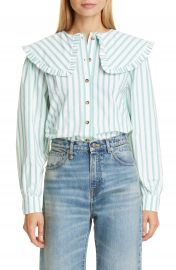 GANNI Stripe Ruffle Collar Cotton Poplin Blouse   Nordstrom at Nordstrom