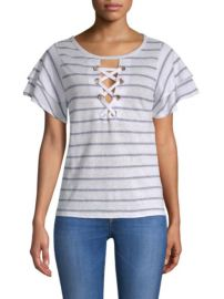 GENERATION LOVE - KIKI LACE-UP STRIPE TEE at Saks Fifth Avenue