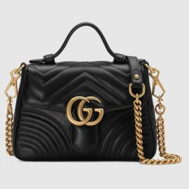 GG Marmont Mini Chevron Leather Satchel Bag by Gucci at Gucci