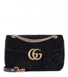 GG Marmont Small velvet shoulder bag at Mytheresa