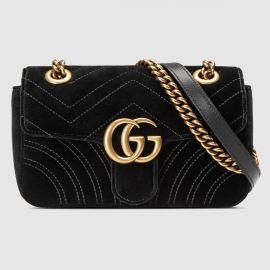 GG Marmont velvet mini bag at Gucci