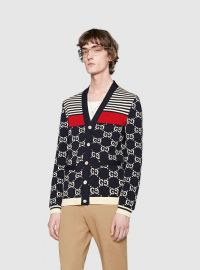 GG and Stripes Knit Cardigan at Gucci