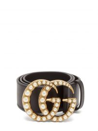 GG faux pearl-embellished leather belt at Matches