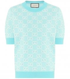GG wool and cotton piqué sweater at Mytheresa