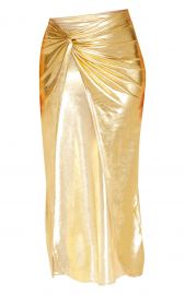 GOLD METALLIC SLINKY KNOT FRONT MIDI SKIRT at Pretty Little Thing