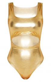 GOLD METALLIC SLINKY SQUARE NECK CUT OUT BODYSUIT at Pretty Little Things