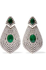 GOLD-TONE, RESIN AND CRYSTAL CLIP EARRINGS at Net A Porter