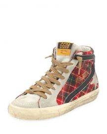 GOLDEN GOOSE SLIDE TARTAN HIGH-TOP SNEAKERS at Last Call