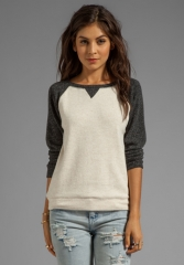 GRAHAM and SPENCER Brushed Sweatshirt in CharcoalOatmeal at Revolve