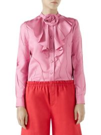 GUCCI - PLEATED SILK SHIRT at Saks Fifth Avenue