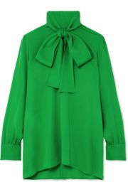 GUCCI - PUSSY-BOW SILK-GEORGETTE BLOUSE - GREEN at Net A Porter