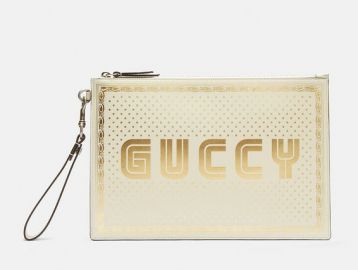 GUCCI GUCCY PRINT POUCH IN WHITE  at LN-CC