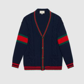 GUCCI OVERSIZE CABLE KNIT CARDIGAN at Gucci