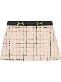 GUCCI TWEED MINI SKIRT - NEUTRALS at Farfetch