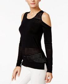 GUESS Casandra Perforated Cold-Shoulder Top at Macys