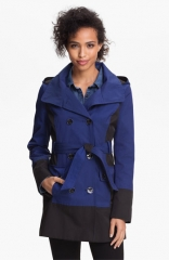 GUESS Colorblock Double Breasted Trench Coat at Nordstrom