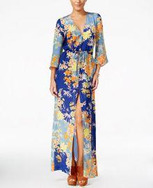 GUESS Constanze Printed Bell-Sleeve Maxi Dress at Macys