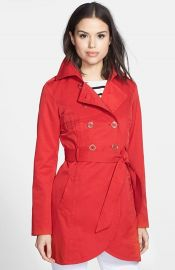 GUESS Cutaway Front Trench Coat at Nordstrom