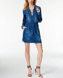 GUESS Denim Lace-Up Shirtdress at Macys