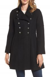 GUESS Double Breasted Fit   Flare Coat at Nordstrom