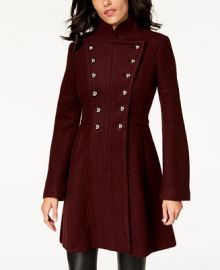 GUESS Double-Breasted Skirted Coat   Reviews - Coats - Women - Macy s at Macys