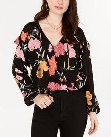 GUESS Floral-Print Long-Sleeve Top   Reviews - Tops - Juniors - Macy s at Macys