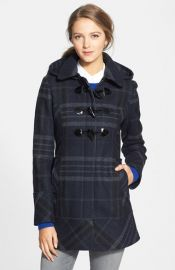 GUESS Plaid Toggle Front Coat with Removable Hood at Nordstrom