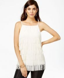 GUESS Sleeveless Fringed Top in White at Macys
