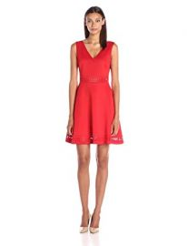 GUESS Women s Lasercut Fit and Flare Dress at Amazon