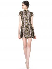 GWYNETH EMBROIDERED HIGHNECK FLARE DRESS at Alice + Olivia