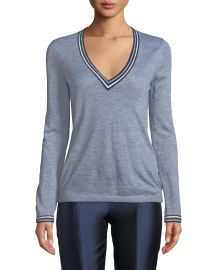 Gabriela Hearst Alba V-Neck Long-Sleeve Cashmere Sweater w  Striped Trim at Neiman Marcus