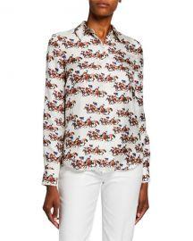 Gabriela Hearst Henri Horse Race Print Silk Shirt at Neiman Marcus