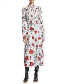 Gabriela Hearst Jane Button-Front Long-Sleeve Newspaper  amp  Rose Print Shirtdress at Neiman Marcus