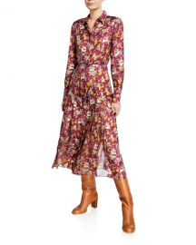 Gabriela Hearst Jane Mythical Print Button-Front Long-Sleeve Belted Silk Shirtdress at Neiman Marcus