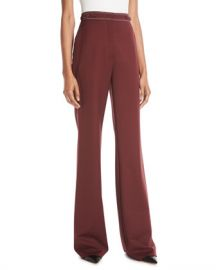 Gabriela Hearst Vesta High-Waist Wide-Leg Wool Pants w  Contrast Topstitching at Neiman Marcus