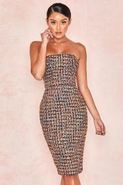 Gabrielle Multi Colour Tweed Strapless Dress at House of CB