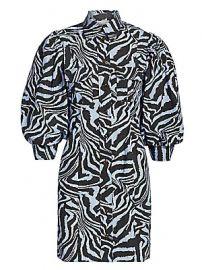 Ganni - Puff-Sleeve Zebra Mini Shirtdress at Saks Fifth Avenue