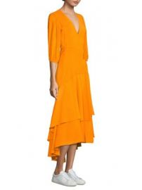 Ganni - Wilkie Seersucker Wrap Dress at Saks Fifth Avenue