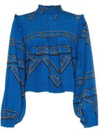 Ganni Cloverdale Pleat Detail Printed Silk Blouse - Farfetch at Farfetch