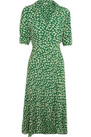 Ganni Dalton floral print crepe wrap dress at Net A Porter