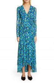 Ganni Floral Print Mesh Long Sleeve Maxi Wrap Dress   Nordstrom at Nordstrom