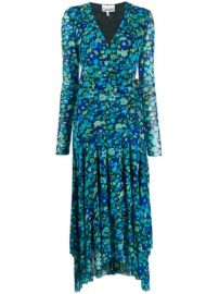 Ganni Floral Print Wrap Dress - Farfetch at Farfetch