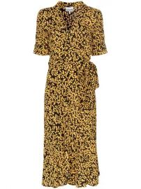 Ganni Goldstone Floral Print Crepe Wrap Dress - Farfetch at Farfetch