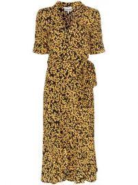Ganni Goldstone Floral Print Crepe Wrap Dress - Farfetch at Farfetch