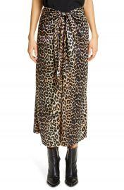 Ganni Leopard Print Silk Satin Midi Skirt   Nordstrom at Nordstrom