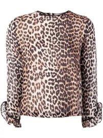 Ganni Leopard Print long-sleeve Blouse - Farfetch at Farfetch