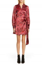 Ganni Long Sleeve Silk Stretch Satin Wrap Dress   Nordstrom at Nordstrom