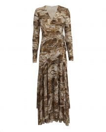 Ganni Marble Print Wrap Dress at Intermix
