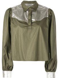 Ganni Metallic Patch Shirt - Farfetch at Farfetch